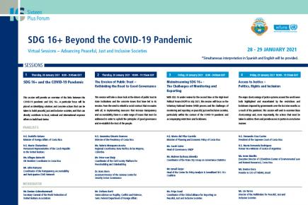 SDG 16+ Beyond the COVID-19 Pandemic