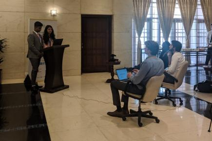 Press stakeout at WIMUN India 2019